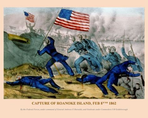 Fine art print of the American Civil War of the Capture of Roanoke Island, Feb 8th 1862